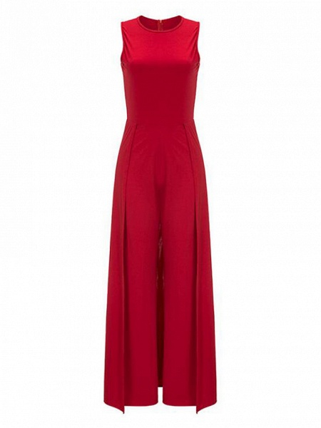 Women's Wide Leg Daily Red Jumpsuit_4