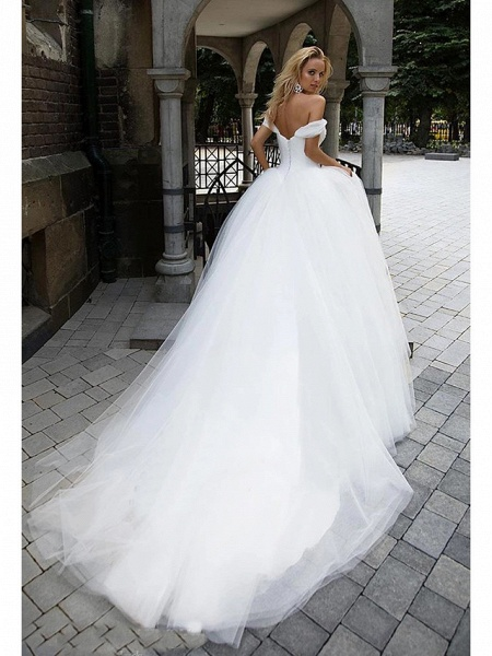 Ball Gown Wedding Dresses Off Shoulder Chapel Train Tulle Short Sleeve_4
