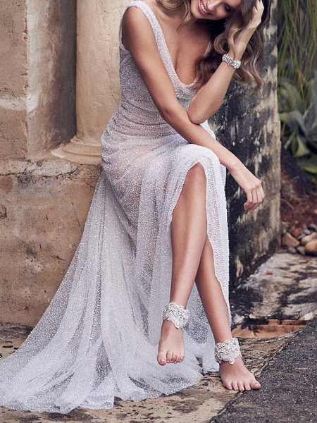A-Line Wedding Dresses V Neck Court Train Tulle Sleeveless Vintage Sexy Wedding Dress in Color See-Through_9