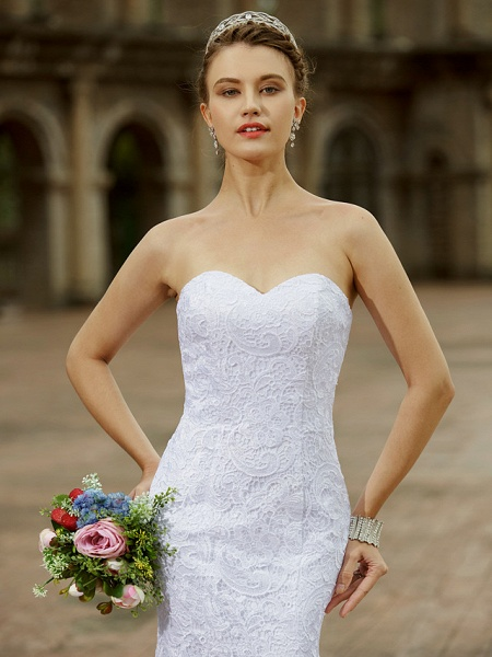 Mermaid \ Trumpet Wedding Dresses Sweetheart Neckline Sweep \ Brush Train Lace Strapless Country Plus Size_4