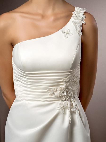 Mermaid \ Trumpet Wedding Dresses One Shoulder Court Train Satin Sleeveless_7