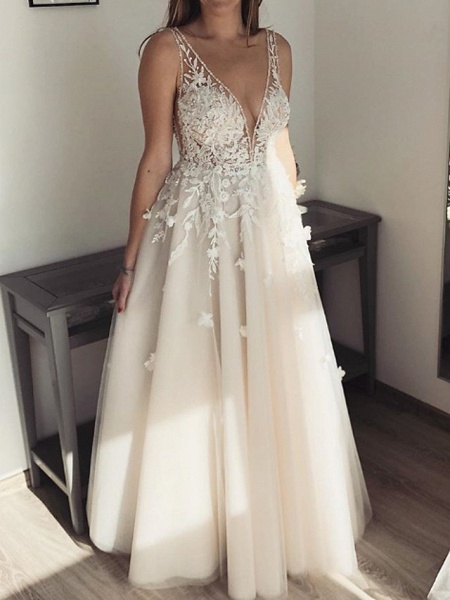 A-Line Wedding Dresses Plunging Neck Floor Length Lace Tulle Sleeveless Country Sexy See-Through Plus Size_1
