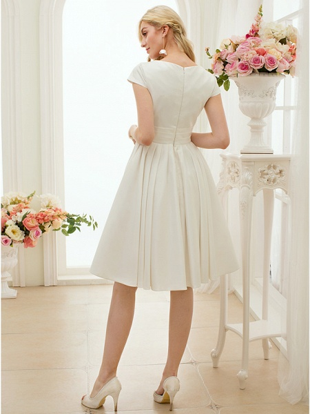 A-Line Wedding Dresses Jewel Neck Knee Length Satin Short Sleeve Formal Simple Casual Little White Dress_9