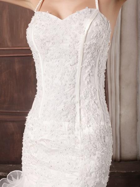 Mermaid \ Trumpet Sweetheart Neckline Court Train Lace Organza Satin Spaghetti Strap Sexy Illusion Detail Backless Wedding Dresses_4