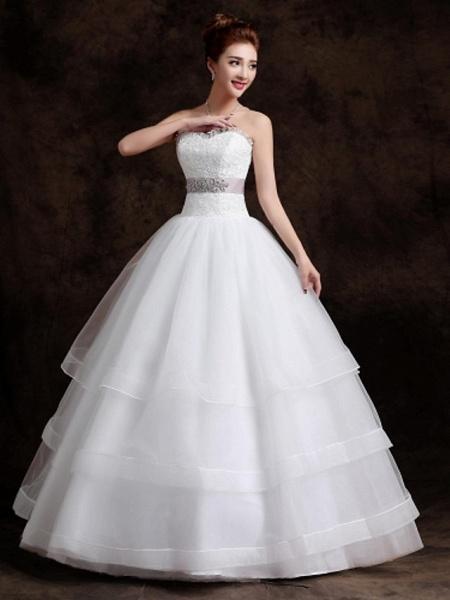 Ball Gown Wedding Dresses Sweetheart Neckline Floor Length Organza Tulle Sleeveless_3