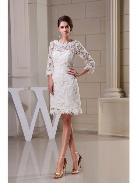A-Line Wedding Dresses Jewel Neck Knee Length All Over Floral Lace 3\4 Length Sleeve Vintage Backless Illusion Sleeve_4