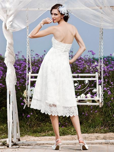 Princess A-Line Wedding Dresses Strapless Tea Length Lace Sleeveless Little White Dress_5