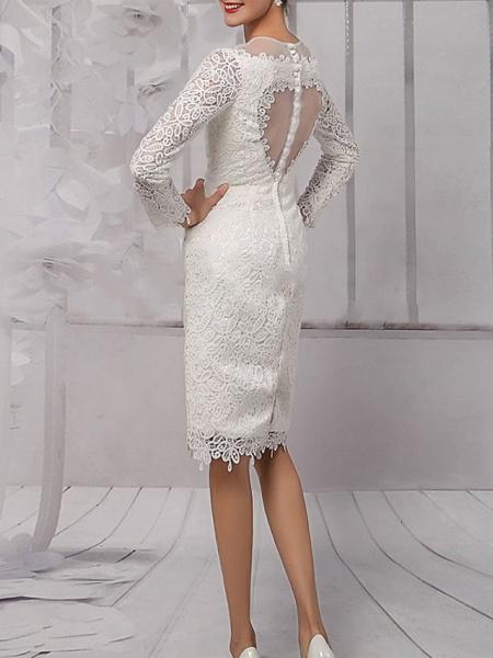 Sheath \ Column Wedding Dresses Jewel Neck Knee Length Lace Tulle Long Sleeve Vintage 1950s_3