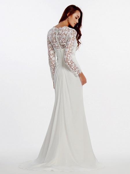 Sheath \ Column Wedding Dresses V Neck Sweep \ Brush Train Chiffon Floral Lace Long Sleeve Romantic Boho Little White Dress Illusion Sleeve_5