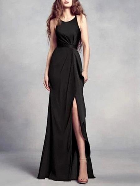 A-Line Wedding Dresses Jewel Neck Floor Length Satin Regular Straps Romantic Plus Size Black Red_3