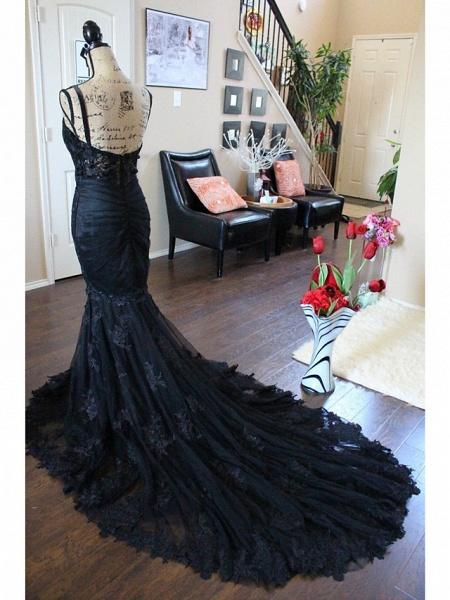 Mermaid \ Trumpet Sweetheart Neckline Chapel Train Lace Satin Tulle Spaghetti Strap Black Wedding Dresses_4