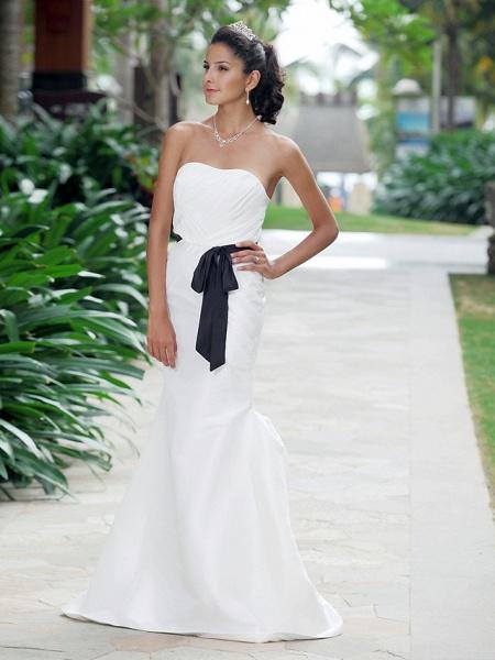 Mermaid \ Trumpet Wedding Dresses Strapless Sweetheart Neckline Floor Length Taffeta Sleeveless Wedding Dress in Color_3