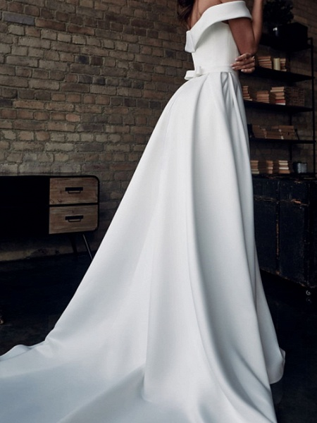 A-Line Wedding Dresses Off Shoulder Sweep \ Brush Train Stretch Satin Short Sleeve Country Plus Size_2