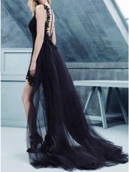 Sheath \ Column Wedding Dresses Strapless Sweep \ Brush Train Polyester Strapless Formal Plus Size Black_2