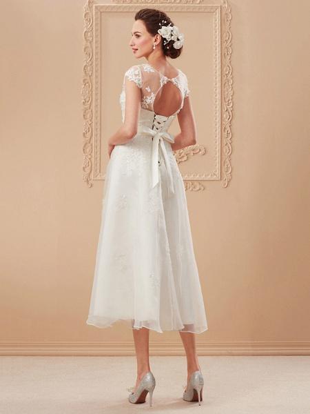 A-Line Wedding Dresses Bateau Neck Tea Length Organza Cap Sleeve Simple Casual Illusion Detail_12