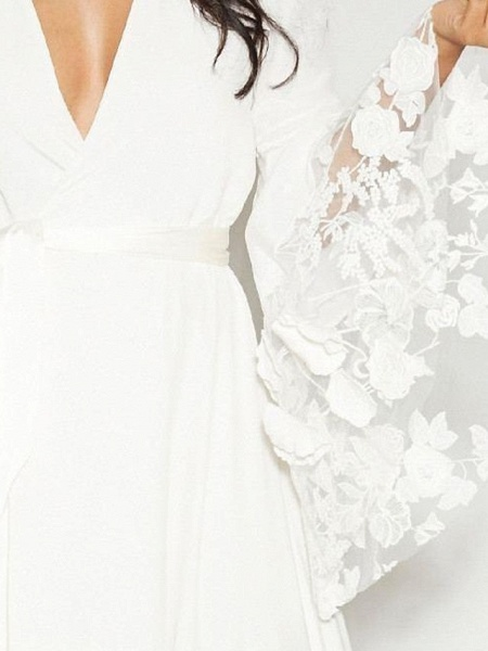 A-Line Plunging Neck Sweep \ Brush Train Polyester Long Sleeve Casual Plus Size Wedding Dresses_4