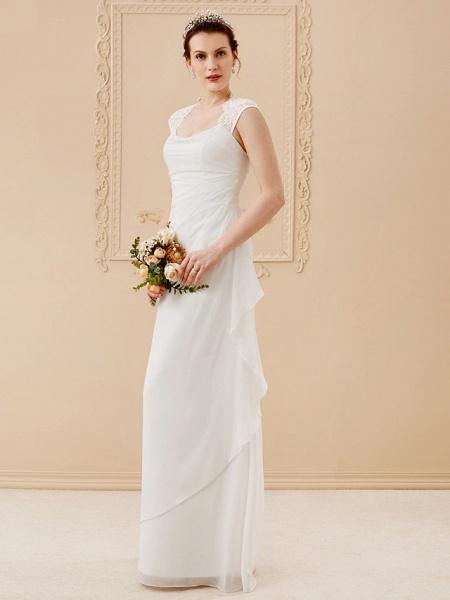 Sheath \ Column Wedding Dresses Square Neck Floor Length Chiffon Lace Cap Sleeve Simple Illusion Detail_3