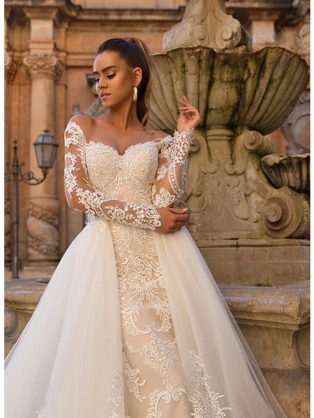 Ball Gown Mermaid \ Trumpet Sweetheart Neckline Court Train Lace Tulle Lace Over Satin Long Sleeve Sexy Plus Size Modern Detachable Wedding Dresses_6
