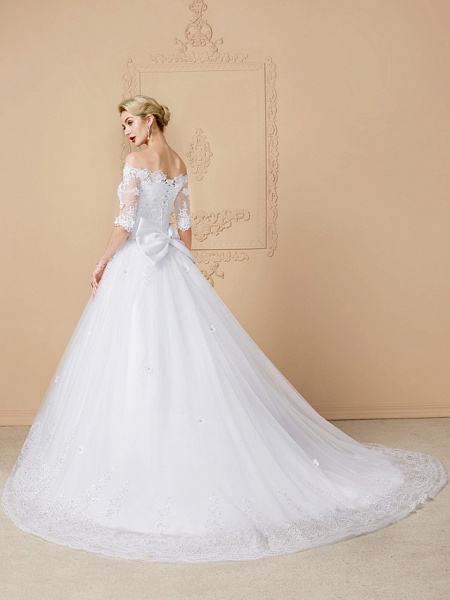 Ball Gown Wedding Dresses Off Shoulder Court Train Lace Tulle Half Sleeve Sparkle & Shine Open Back Cute_2