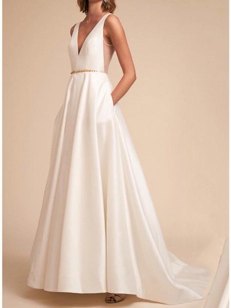 A-Line Wedding Dresses V Neck Sweep \ Brush Train Satin Sleeveless Formal_1