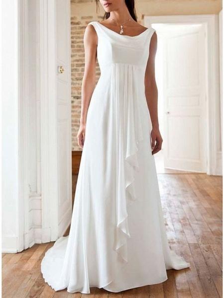 A-Line Wedding Dresses Jewel Neck Sweep \ Brush Train Chiffon Sleeveless Beach_1