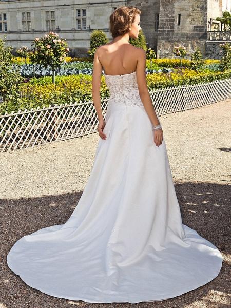 Princess A-Line Wedding Dresses Strapless Chapel Train Satin Sleeveless_2