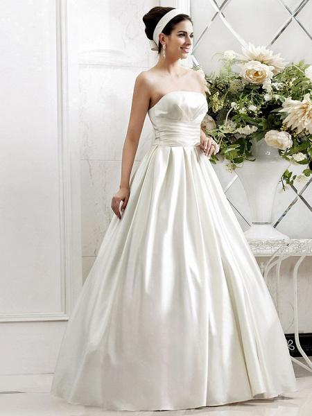 Princess A-Line Wedding Dresses Strapless Sweep \ Brush Train Satin Sleeveless_8