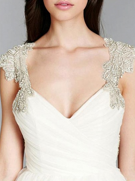 A-Line Wedding Dresses V Neck Sweep \ Brush Train Tulle Chiffon Over Satin Cap Sleeve Sexy Backless_4