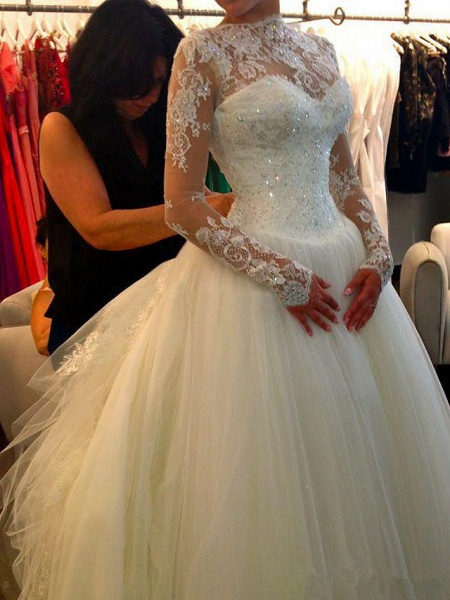 A-Line Wedding Dresses Jewel Neck Court Train Lace Tulle Long Sleeve Formal Sexy_3