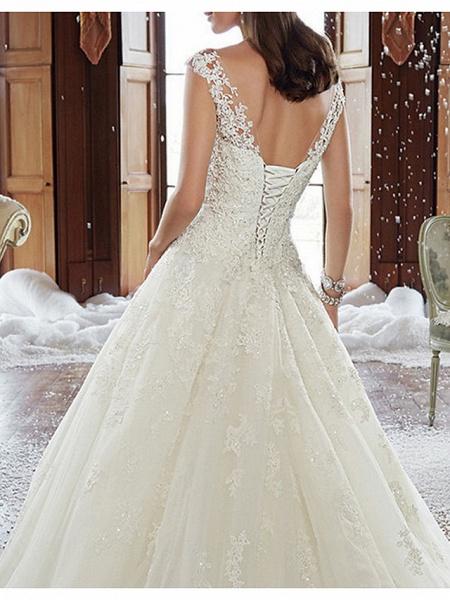 A-Line Wedding Dresses V Neck Court Train Tulle Regular Straps Formal Plus Size_3