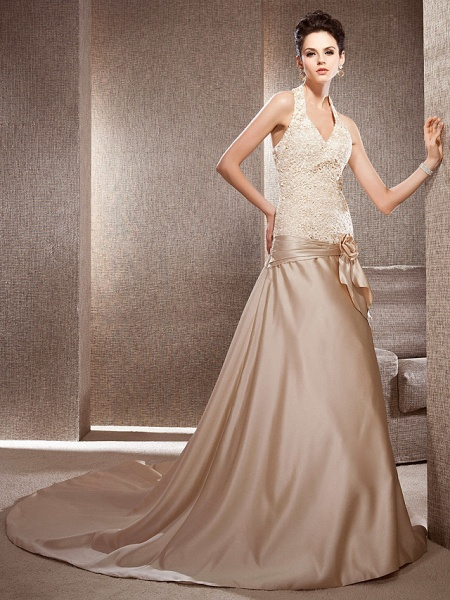 Princess A-Line Wedding Dresses V Neck Chapel Train Lace Satin Sleeveless Wedding Dress in Color_7