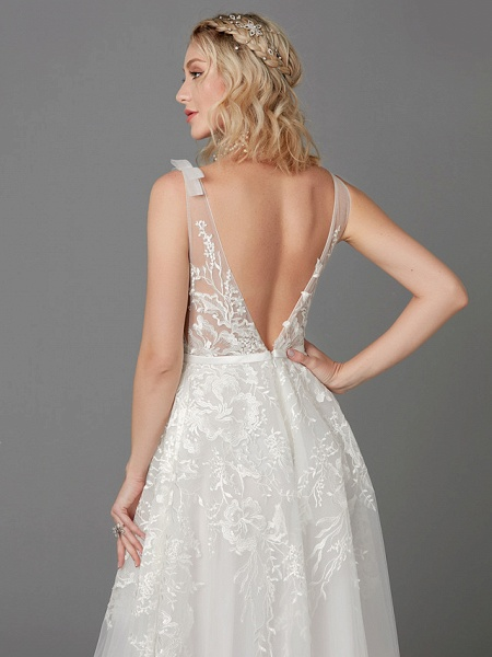 A-Line Wedding Dresses Plunging Neck Floor Length Lace Tulle Sleeveless See-Through_8