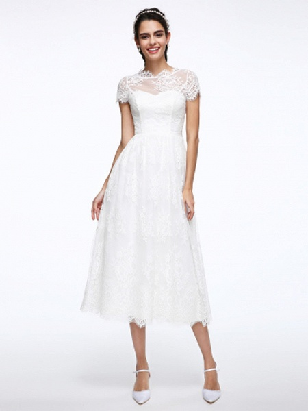 A-Line Wedding Dresses Jewel Neck Tea Length Lace Short Sleeve Simple Casual Illusion Detail Backless_1