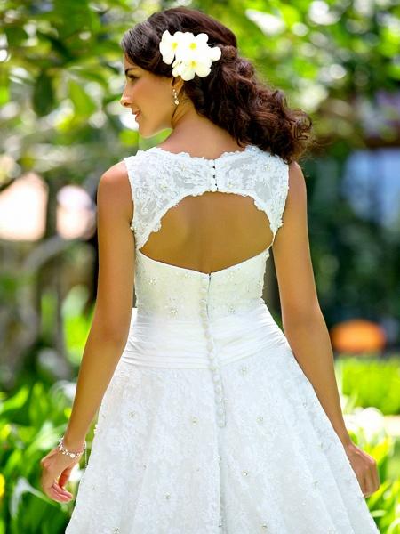 A-Line Wedding Dresses Bateau Neck Ankle Length Lace Regular Straps Little White Dress_5