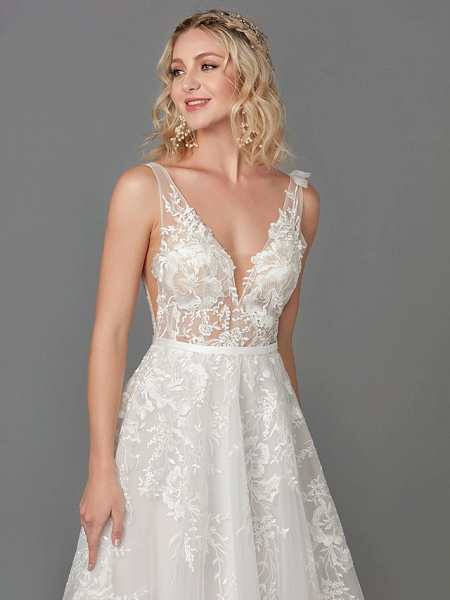 A-Line Wedding Dresses Plunging Neck Floor Length Lace Tulle Sleeveless See-Through_9