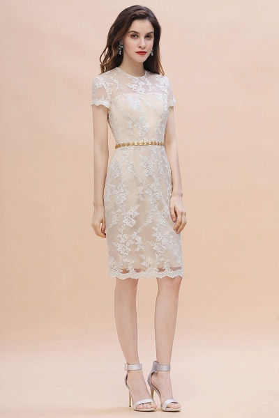 Tulle Lace Beads Belt Short Sleeves Mother of Bride Dress_6