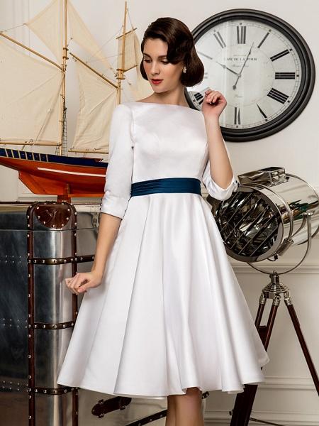 A-Line Wedding Dresses Bateau Neck Knee Length Satin 3\4 Length Sleeve Simple Casual Vintage Plus Size Cute_5