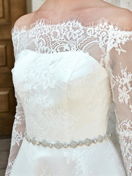 A-Line Wedding Dresses Off Shoulder Asymmetrical Lace Long Sleeve Casual Plus Size Illusion Sleeve_16
