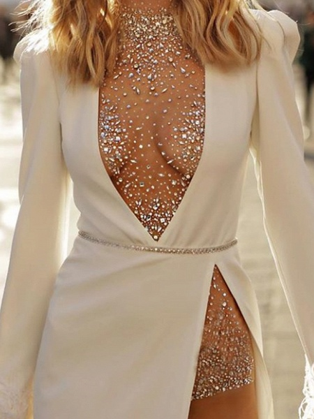 Two Piece Wedding Dresses High Neck Plunging Neck Floor Length Polyester Long Sleeve Sexy Plus Size_3