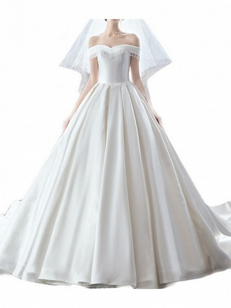 A-Line Wedding Dresses Off Shoulder Sweep \ Brush Train Satin Sleeveless Casual Plus Size_3