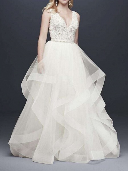 A-Line V Neck Floor Length Tulle Sleeveless Casual Plus Size Wedding Dresses_2