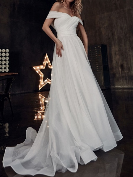 A-Line Wedding Dresses Off Shoulder Sweep \ Brush Train Tulle Short Sleeve Country Plus Size_2