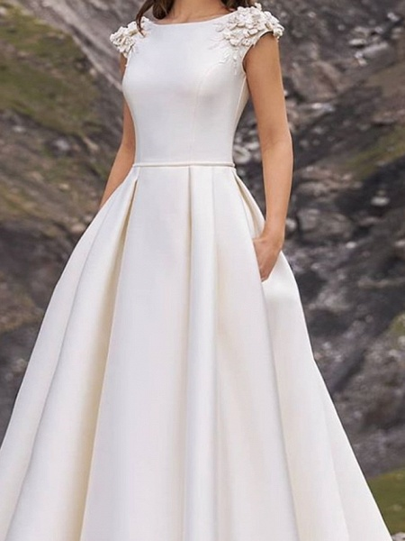 A-Line Wedding Dresses Jewel Neck Sweep \ Brush Train Satin Cap Sleeve Country Plus Size_3