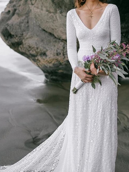 A-Line Wedding Dresses V Neck Sweep \ Brush Train Lace Long Sleeve Boho Sexy Backless_3
