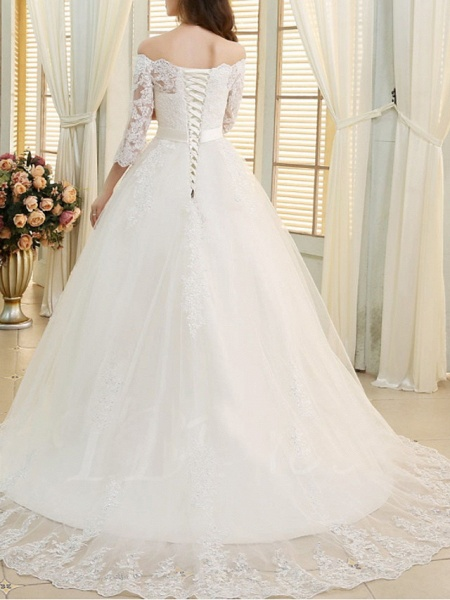 A-Line Off Shoulder Sweep \ Brush Train Lace Tulle 3\4 Length Sleeve Formal Wedding Dresses_2