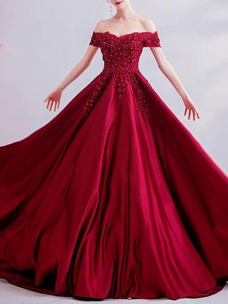 A-Line Wedding Dresses Off Shoulder Sweep \ Brush Train Satin Short Sleeve Romantic Plus Size Red_3