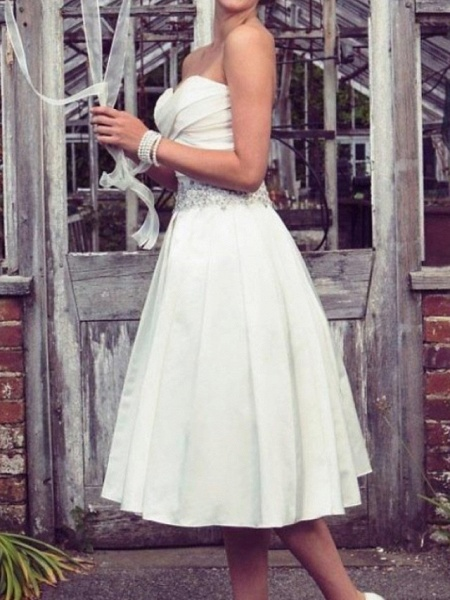 A-Line Wedding Dresses Strapless Tea Length Taffeta Half Sleeve Sleeveless Vintage Sexy Wedding Dress in Color_3