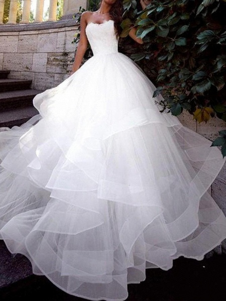 Ball Gown Wedding Dresses Strapless Sweep \ Brush Train Tulle Sleeveless Country Plus Size_1
