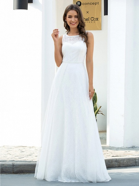 A-Line Wedding Dresses Jewel Neck Floor Length Lace Tulle Sleeveless Country Casual_1