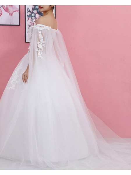 Ball Gown Wedding Dresses Off Shoulder Sweep \ Brush Train Lace Tulle Regular Straps Formal_3